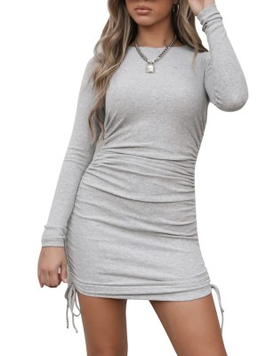 Wonderful Gray Crew Neck Mini Dress Drawstring Ruched Simplicity