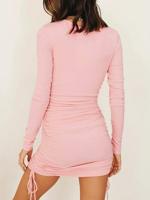 Slimming Pink Round Neck Mini Dress Long Sleeve Plain Fashion