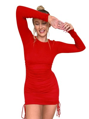 Body Hugging Red Side Lace-Up Ruched Dress Mini Length Ladies