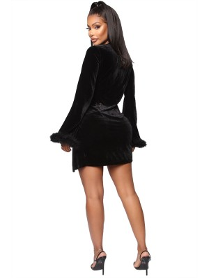 Black Plunge Collar Solid Color Mini Dress Eye-Catching