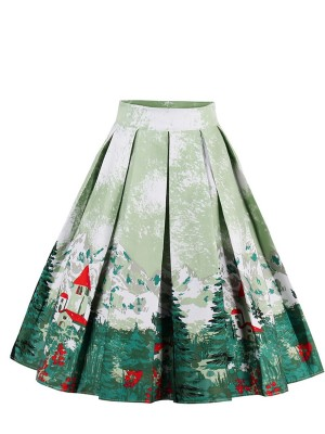 Christmas Print Midi Skirt High Waisr For Party