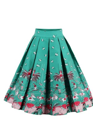 Dancing Girl Pattern A-Line Midi Skirt Ruched