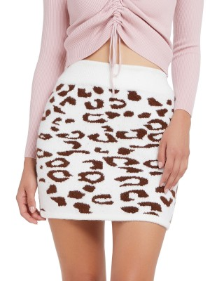 Ladies Brownness Leopard Knitted Skirt Elastic Waist Lightweight