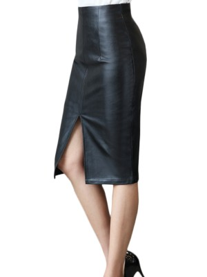 Loose Fitting Black PU Bodycon Skirt High Waist Slit Loose