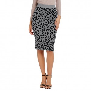 Particularly Gray Leopard Printed Skirt Back Split For Ladies