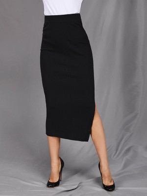 Casually Black Solid Color Side Slit Maxi Skirt Fashion For Women