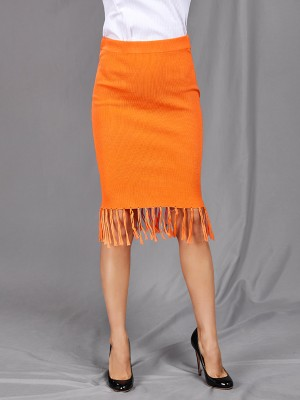 Dreamy Orange Solid Color Midi Skirt Tassel Hem Natural Fit