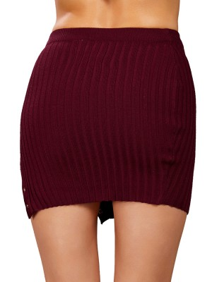 Subtle Wine Red Solid Color Knitted Mini Skirt Slit Outfits