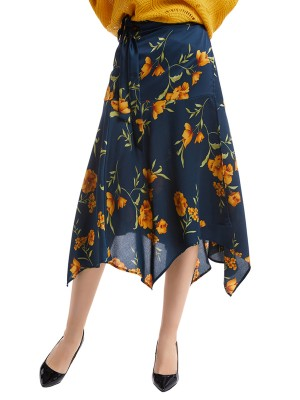 Exquisite Purplish Blue High Waist Tie Floral Pattern Skirt Comfort