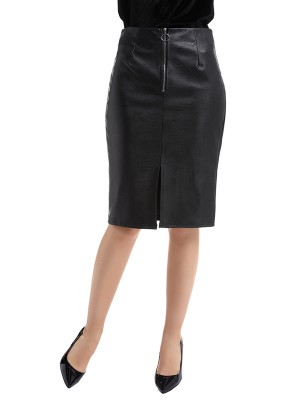 Slim Fit Black Midi Skirt Slit Zipper Pu Leather Outfits