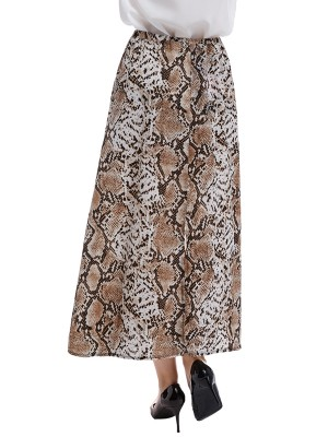 Absorbing Serpentine Print Maxi Skirt Fitted Waist For Romans