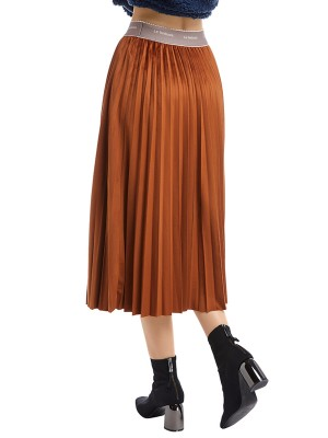 Zealous Coffee Color Pleated Skirt Maxi Length Solid Color Feminine Elegance