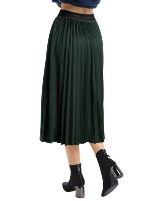 Surprising Green Maix Skirt High Rise Ruched Trim Girls Fashion