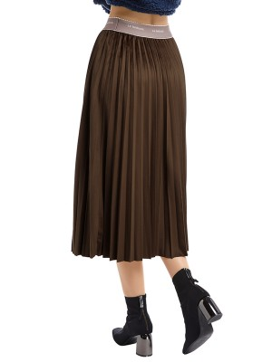 Premium Orange Maix Skirt Pleated Solid Color Visual Effect