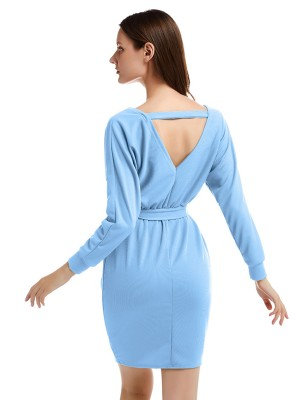 Sunkissed Blue Waist Tie Solid Color Knit Hip Dress Online