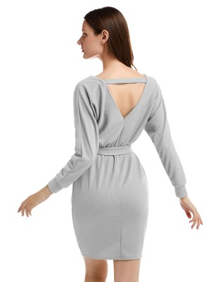 Gracious Gray V-Collar Knit Sweater Backless Dress Sexy Ladies