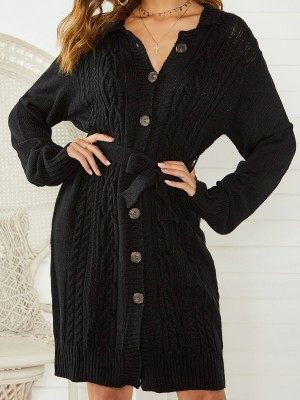 Striking Black Sweater Dress With Belt Front Button Womens Apparel