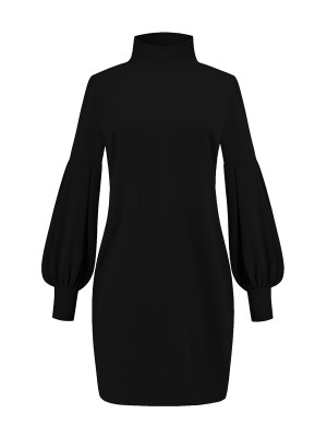 Laid-Back Black Sweater Dress Solid Color Full Sleeve Online