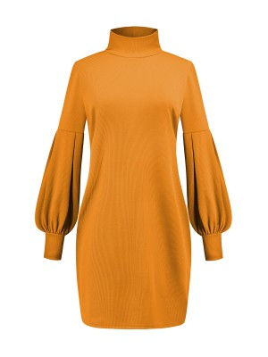 Illusion Yellow Bishop Sleeve Sweater Dress Rib For Woman