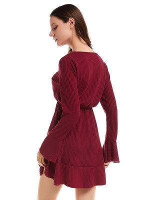 Exotic Red Ruffle Hem Button Front Sweater Dress Outfit