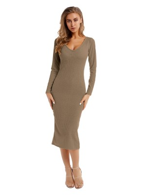 Vintage Light Coffee Color Plunge Neck Slit Sweater Dress