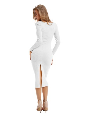 Fashionable White Sweater Dress Solid Color Long Sleeve
