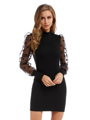 Faddish Black Knitted Dress Mesh Patchwork Mock Neck Comfort