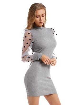 Adorable Gray Mock Neck Sweater Dress Mini Length Elegance