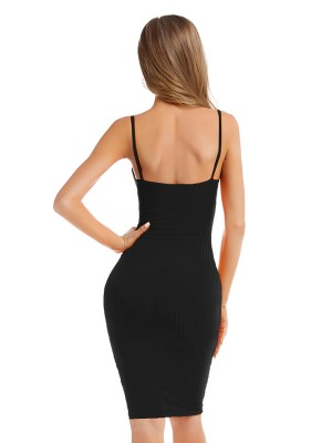 Socialite Black Open Back U Neck Sweater Dress For Elegance