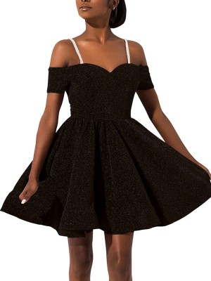 Vibrant Black Short Sleeve Skater Dress Solid Color Leisure