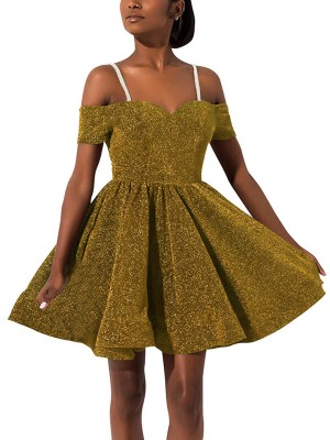 Exquisitely Yellow Skater Dress Zipper Sequin Straps Feminine Fashion