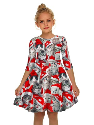 Catching Crew Neck Cat Pattern Mom Kid Dress On-Trend Fashion
