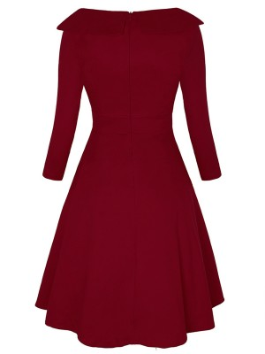 Glam Wine Red Large Size Turndown Collar Skater Dress Elegance