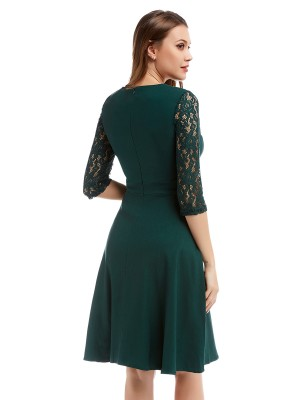 Comfy Green Square Neck Skater Dress Half Sleeve For Woman