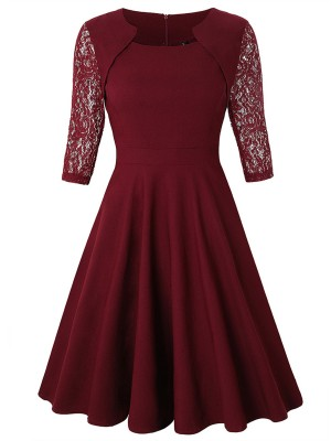 Elaborate Wine Red Skater Dress Lace Zip Symmetry Neck For Vacation