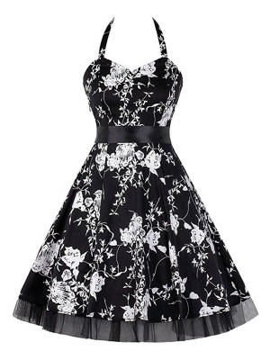 Subtle Waist Knotted Large Size Skater Dress Cheap Online Sale