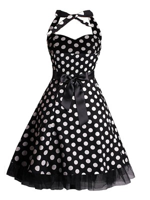 Sensual Curves Dot Pattern Tie Skater Dress Plus Size High Quality