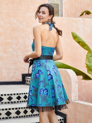 Graceful Halter Neck Skater Dress Open Back Breathable