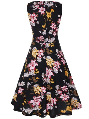 Fitting Sleeveless Skater Dress Floral Printed Contouring Sensation