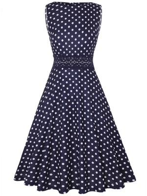 Elegance Lace Patchwork Dot Zipper Skater Dress Classic Dress