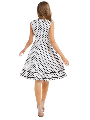 Retro White Sleeveless Skater Dress Queen Size Elasticity