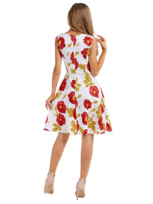 Glam Skater Dress Floral Print V Neck Casual Fashion