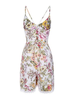 V Neck Mini Length Jumpsuit Floral Print Cross Sling Backless For Ladies