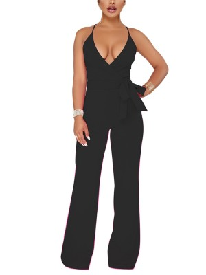 Black Slender Strap Romper Tie At Waist Deep-V Fashion Online