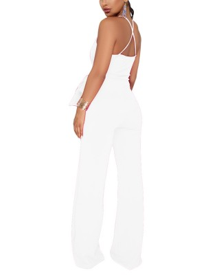 White Full Length Jumpsuit Halter Neck Low Back For Party