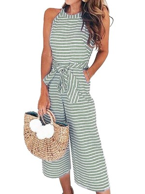 Light Green Jumpsuit Striped Pattern Wide Leg Tie Waist Fashion
