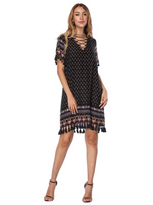 Dark Blue Tassel Hem Short Sleeve Boho Print Midi Dress For Girls