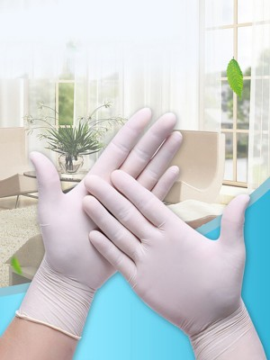 100 Disposable Gloves White Nitrile Gloves  Laboratory Cleaning Durable Gloves