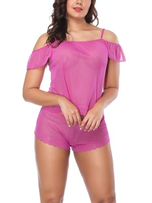 Pink Sheer Mesh Floral Lace Cold Shoulder Solid Color Babydoll