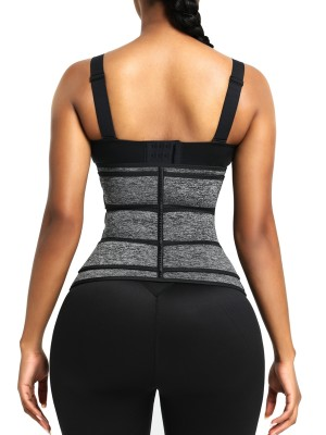 Gray Neoprene Waist Trainer Stickers Three Belts Zipper Slimming Waist